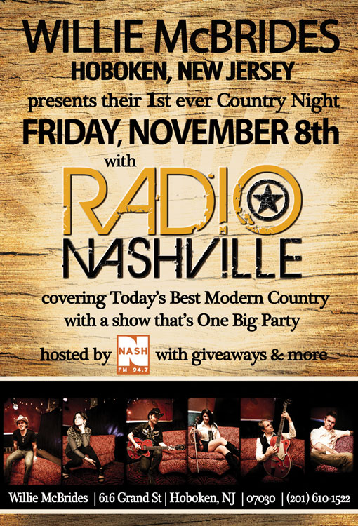 Friday November 8th Radio Nashville is Coming to Hoboken @ Willie McBrides, with NASH FM