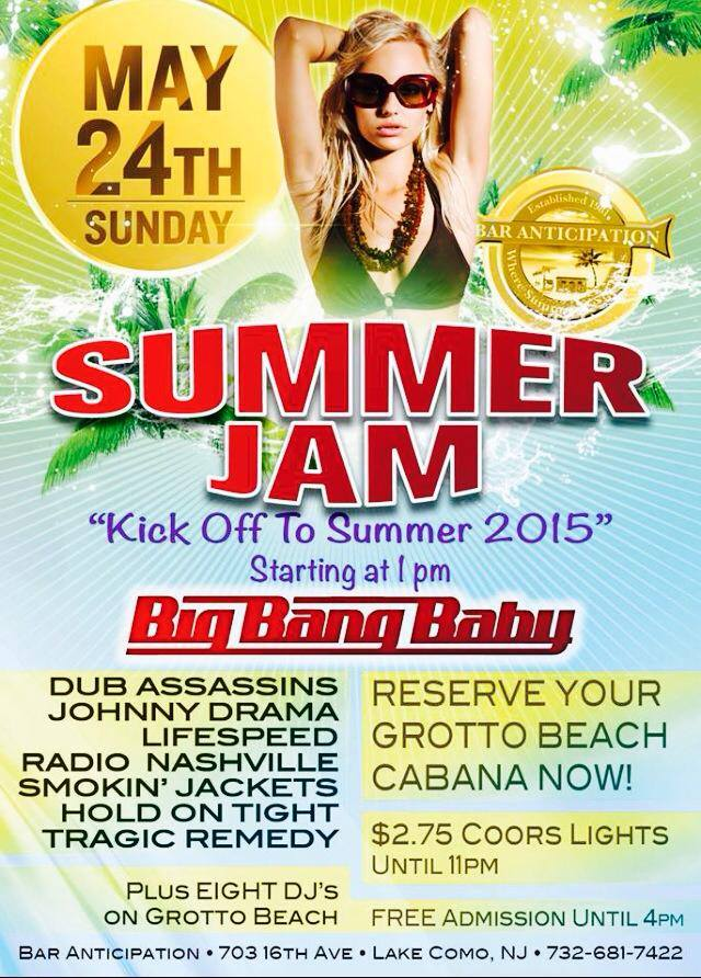 SUNDAY, MAY 24TH RADIO NASHVILLE WILL COUNTRY UP SUMMER JAM 2015 AT BAR ANTICIPATION IN LAKE COMO, NJ